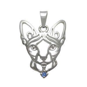 Kočka – Sphynx K – stříbrný přívěšek se zirconem 925/1000 - 5