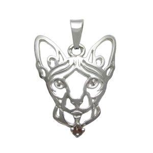 Kočka – Sphynx K – stříbrný přívěšek se zirconem 925/1000 - 4