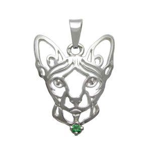 Kočka – Sphynx K – stříbrný přívěšek se zirconem 925/1000 - 3