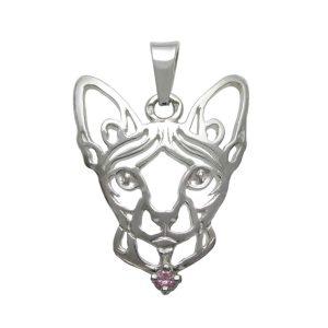 Kočka – Sphynx K – stříbrný přívěšek se zirconem 925/1000 - 2