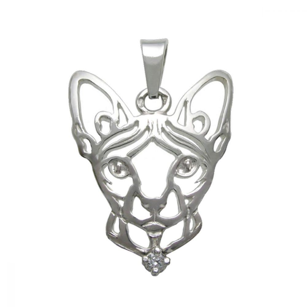 Kočka – Sphynx K – stříbrný přívěšek se zirconem 925/1000 - 1