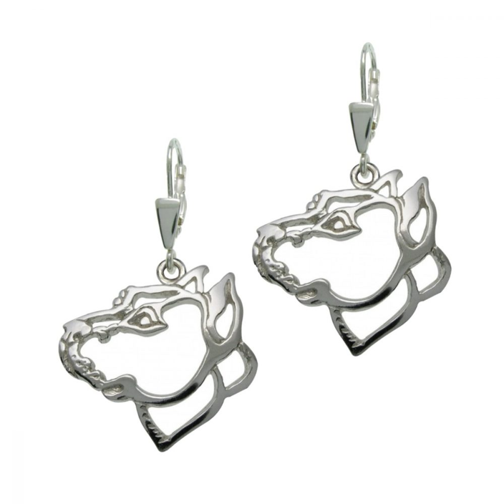 American Pit Bull Terrier I – silver sterling earrings - 1