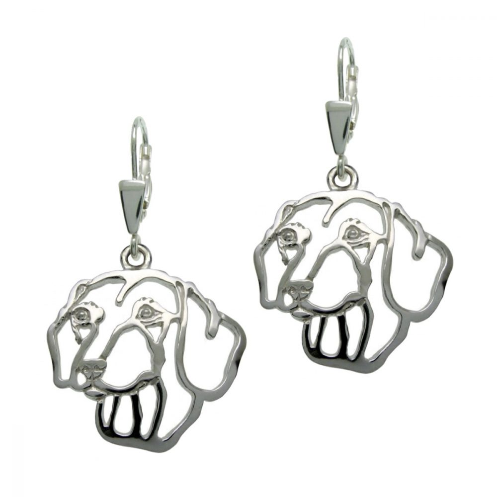 Smooth Dachshund – silver sterling earrings - 1