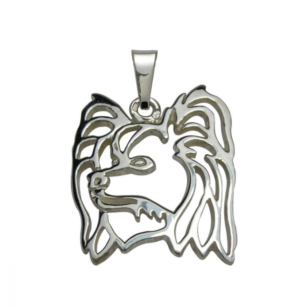 Malý kontinentální španěl – Papillon – stříbrný přívěšek 925/1000 - 1