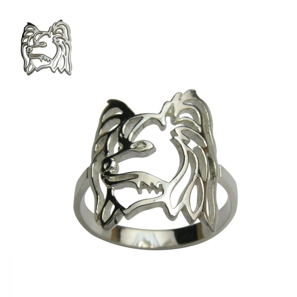 Malý kontinentální španěl – Papillon – stříbrný prsten 925/1000 - 1