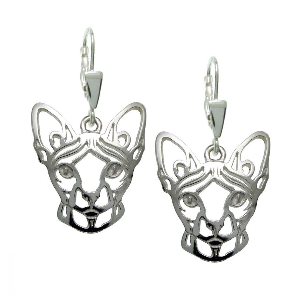 Kočka – Sphynx – stříbrné náušnice 925/1000 - 1