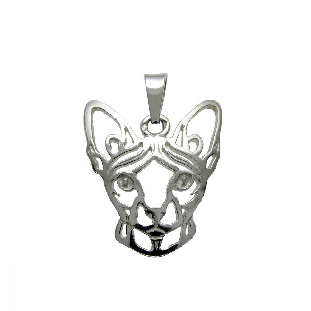 Kočka – Sphynx – stříbrný přívěšek 925/1000 - 1