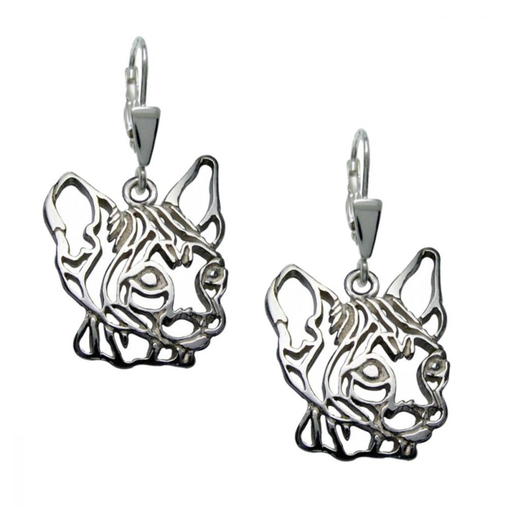 Kočka – Sphynx II – stříbrné náušnice 925/1000 - 1