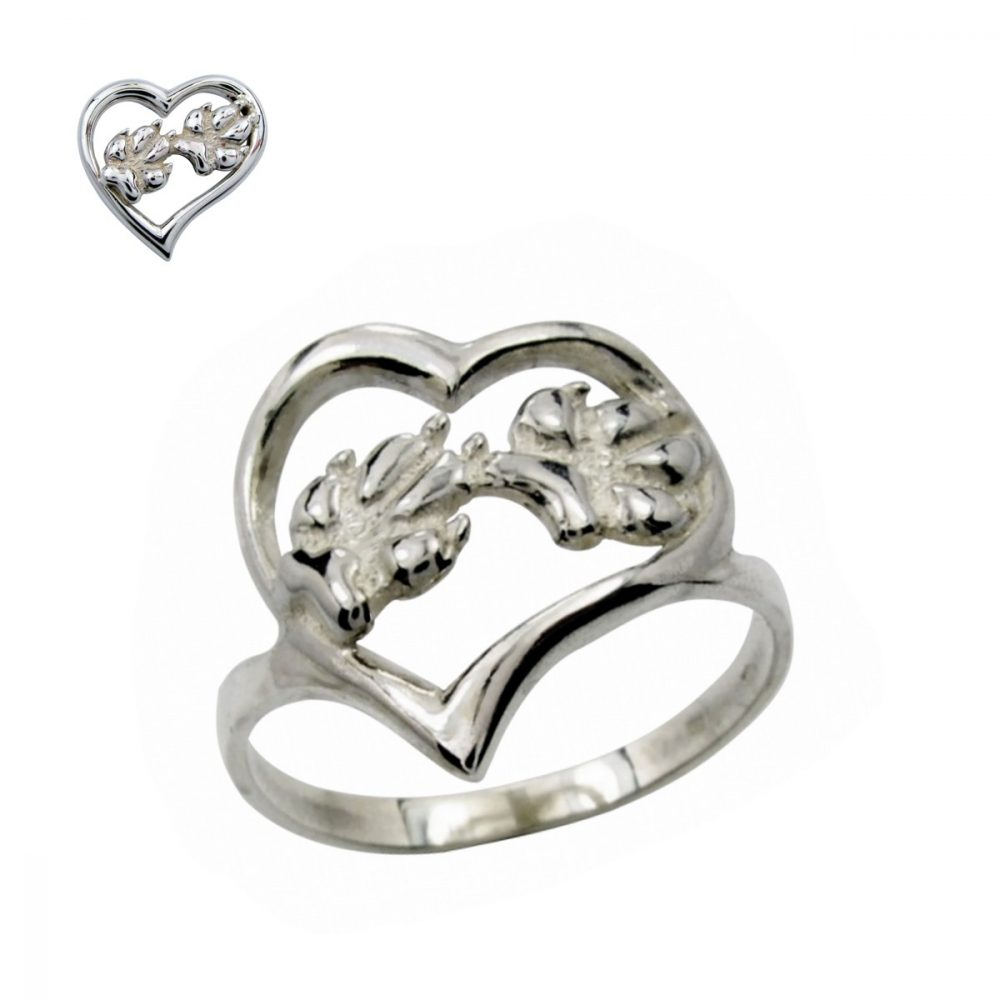 Silver paws heart – silver sterling ring - 1