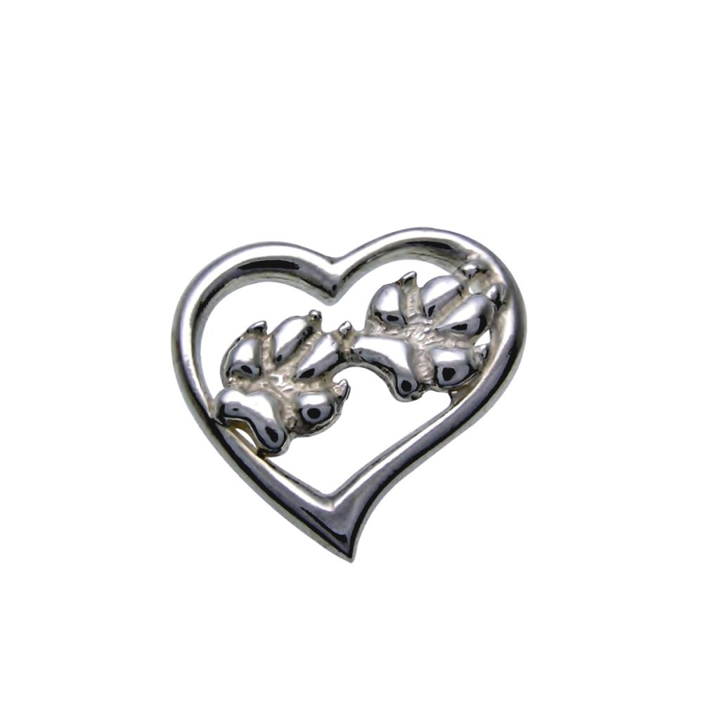 Silver paws dog – silver sterling pendant - 1