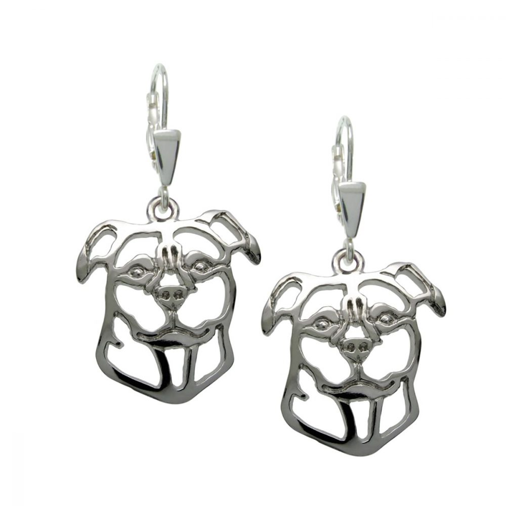 Staffordshire Bull Terrier – silver sterling earrings - 1