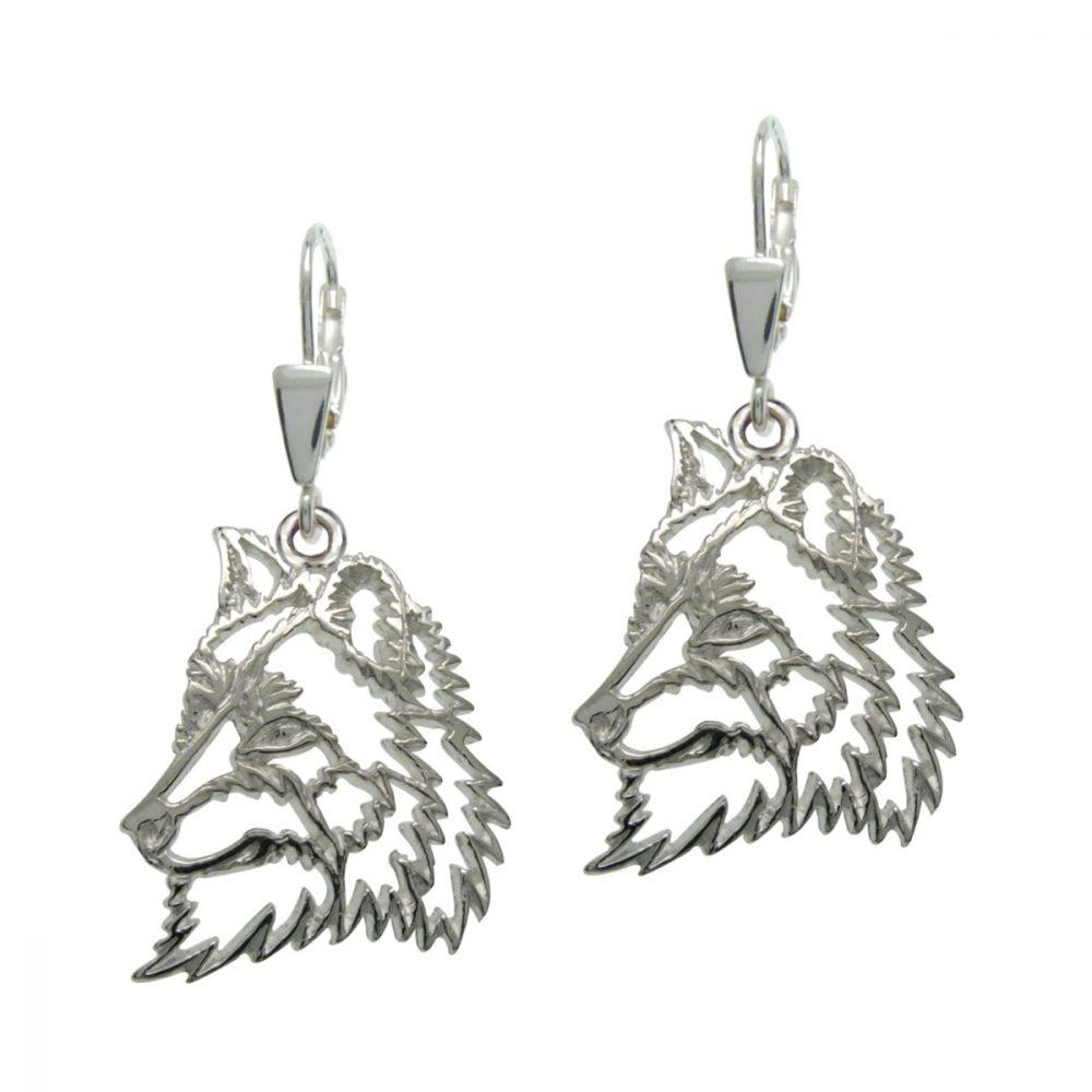 Vlk – stříbrné náušnice 925/1000 - 1