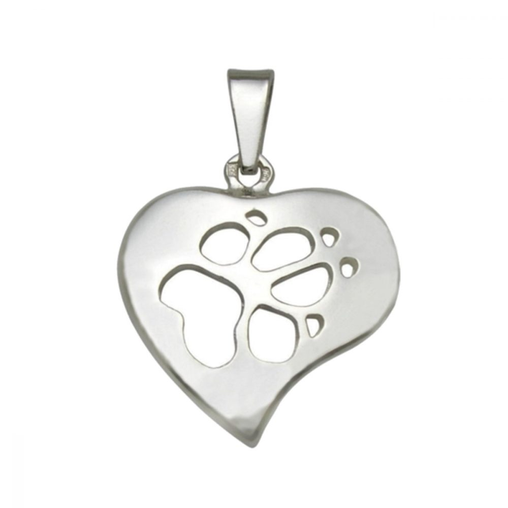 Heart + Paw – Pruning – silver sterling pendant - 1