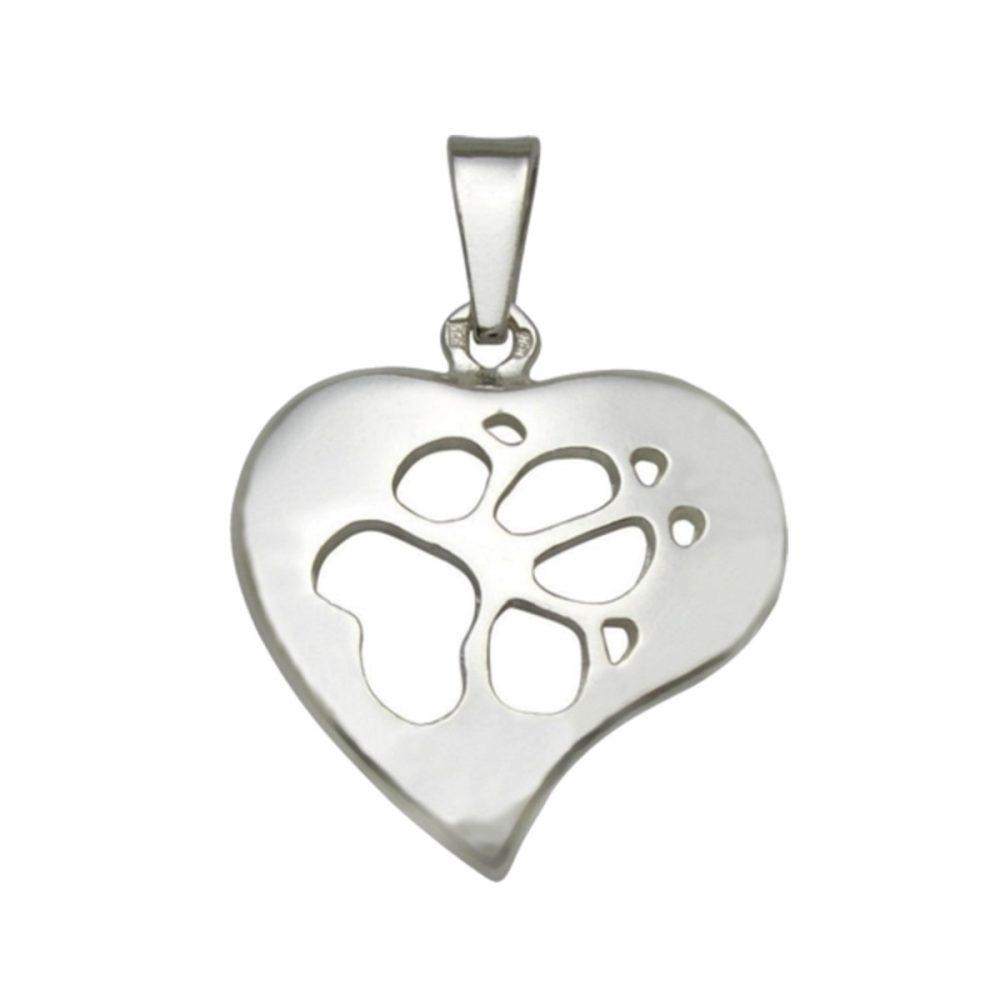 Srdce + Tlapka – Prořez – stříbrný přívěšek 925/1000 - 1