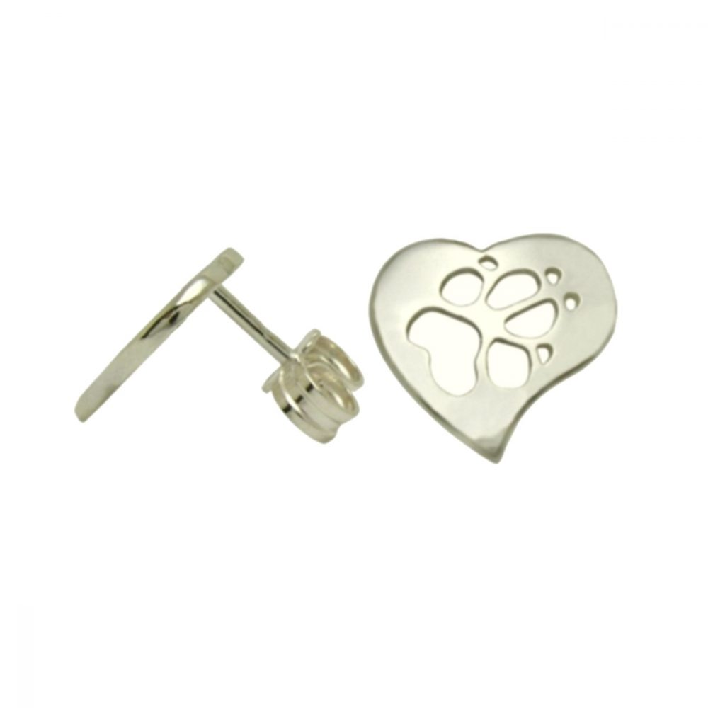 Heart + Paw – Pruning – silver sterling earring - 1